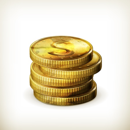 Stack of coins, old-style isolated Stock Vector - 17885491