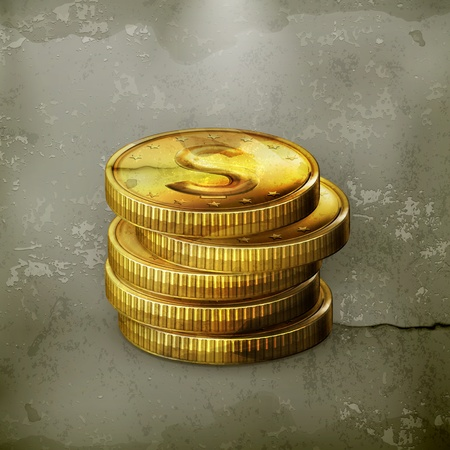 Stack of coins, old-style Vector