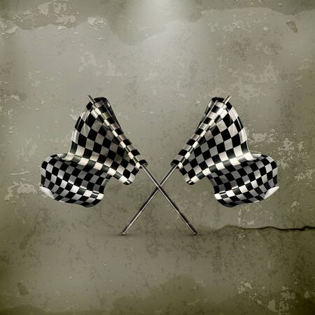 two crossed checkered flags: Two crossed checkered flags, old-style Illustration