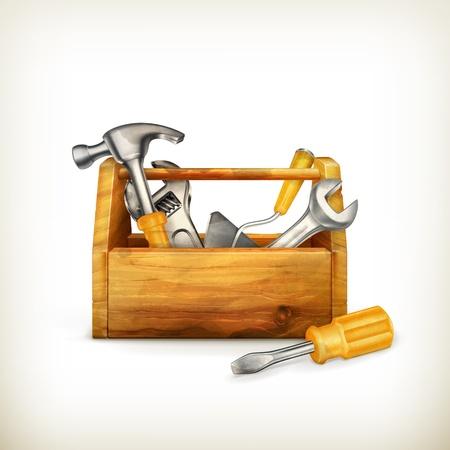 herramientas de carpinteria: Caja de herramientas de madera, de estilo antiguo aislado