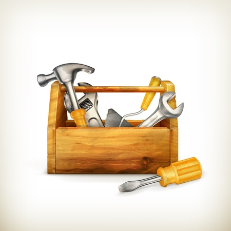 kit design: Wooden toolbox, old-style isolated Illustration