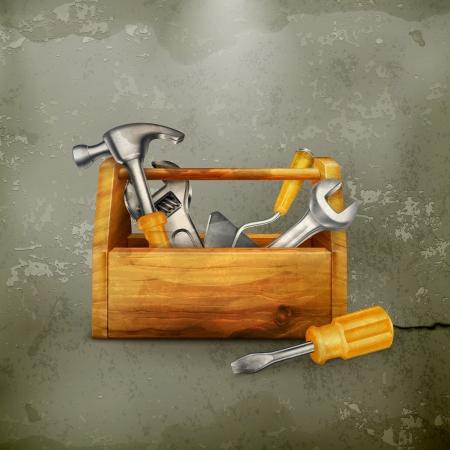 herramientas de carpinteria: Caja de herramientas de madera, de estilo antiguo