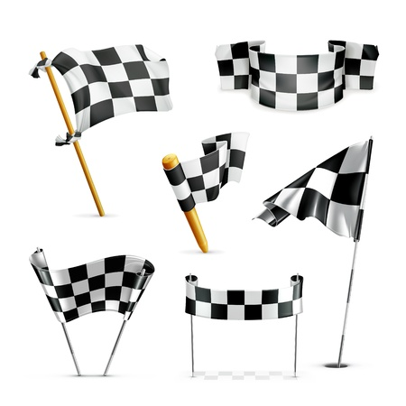 sports race emblem: Checkered flags, set Illustration
