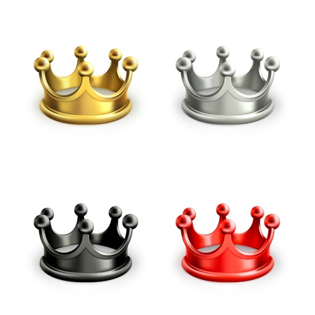 black and silver: Multicolored crowns set