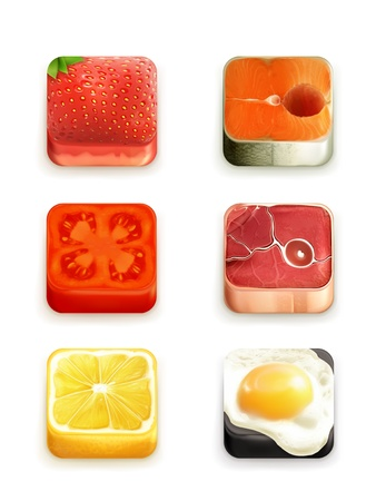 Food app icons set Vector
