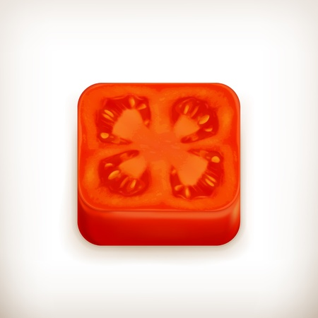 Slice of tomato app icon Stock Vector - 18824974