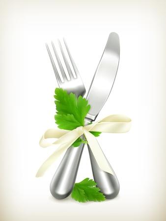 cubiertos de plata: Cuchillo de mesa y el tenedor con el perejil icono