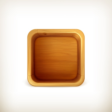 3d button: Wooden box app icon Illustration