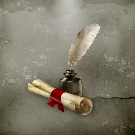 pluma de escribir antigua: Antiguo pergamino y la pluma, estilo antiguo Vectores