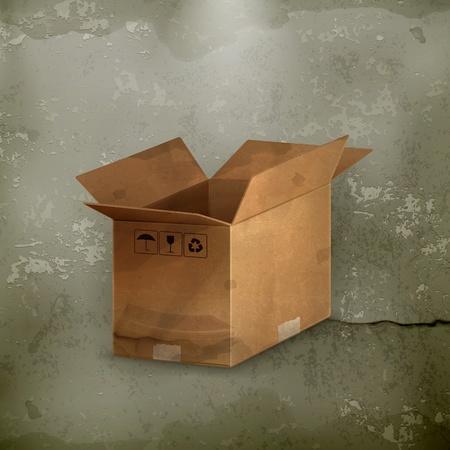 carton box: Open carton box, old-style