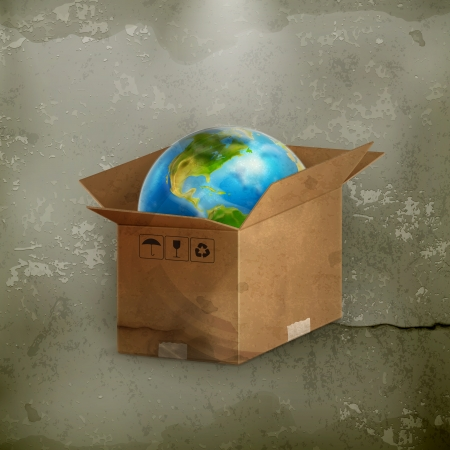 World in box, old-style Stock Vector - 18825162