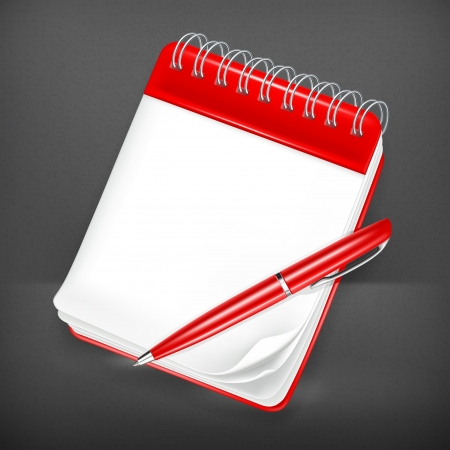 notebook icon: Quaderno a spirale con la penna