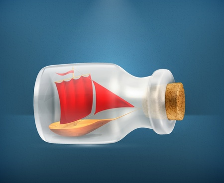 souvenirs: Boat in a bottle icon Illustration