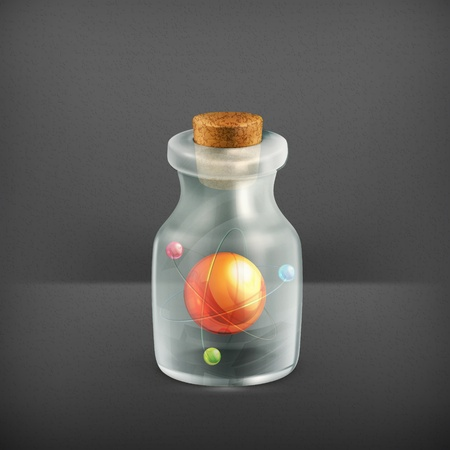 Atom in a bottle, icon Stock Vector - 19331621