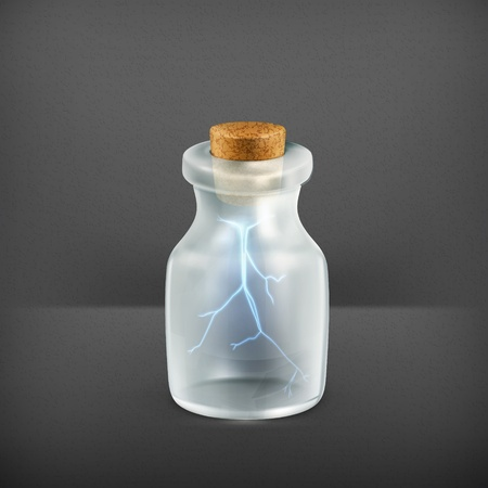 Lightning in a bottle, icon Stock Vector - 19331561
