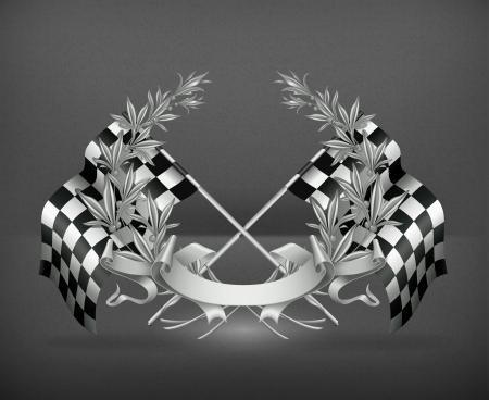 motorizado: Corona de flores y banderas Racing Vectores