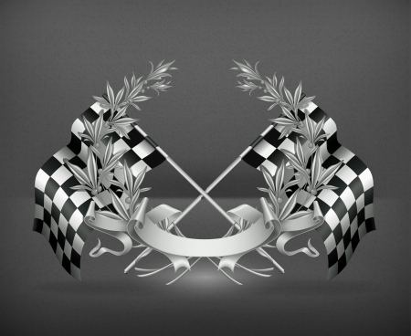 Wreath and Racing flags Vector