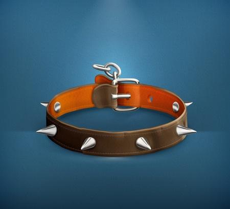 leather belt: Dog collar Illustration