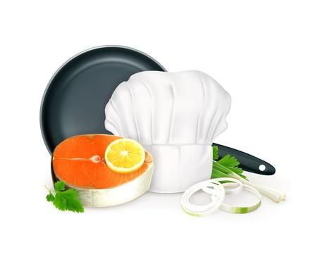 gourmet cooks: Fish steak illustration Illustration