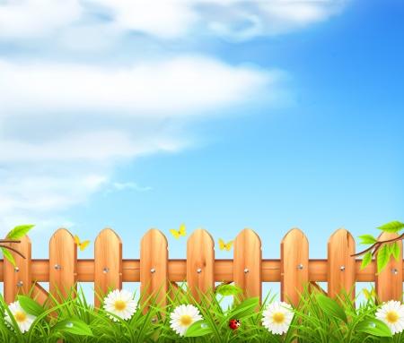 Primavera sfondo, erba e recinzione in legno