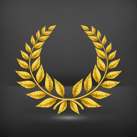 laurel leaf: Corona de oro Vectores