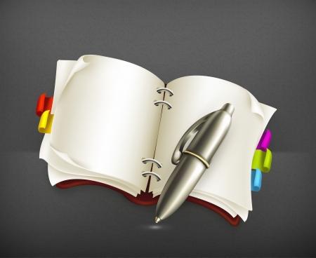 journal intime: Ordinateur portable avec un stylo Illustration