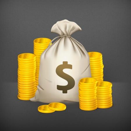 cash money: Las pilas de monedas y una bolsa de dinero