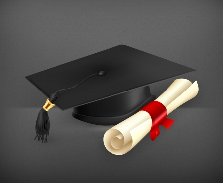 graduation background: Graduation cap and diploma