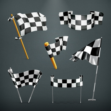 cars race: Checkered flags set