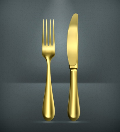 dinning table: Table knife and fork, gold