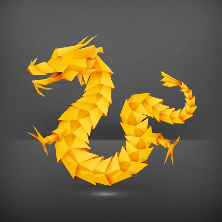 year of the dragon: Origami dragon, orange Illustration