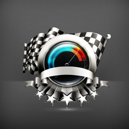 checkered label: Racing emblem