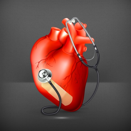 heart sounds: Heart and stethoscope Illustration