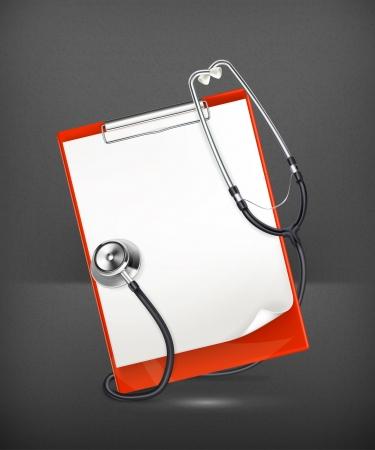 urgencias medicas: Portapapeles con el estetoscopio