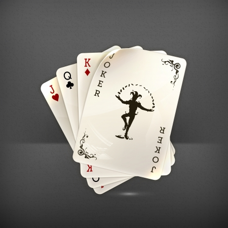 games of chance: Playing cards with a joker Illustration