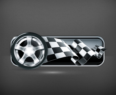 checker flag: Racing banner with car wheel