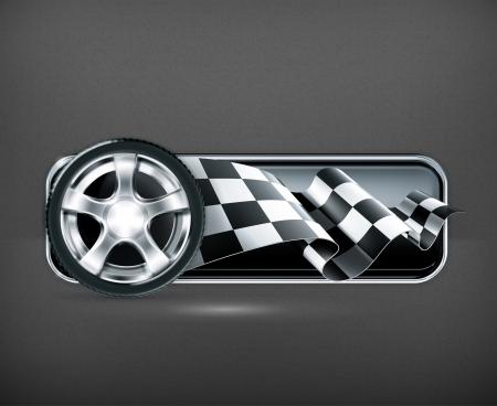 bandera carrera: Racing pancarta con la rueda del autom?vil