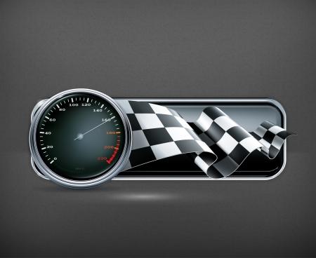 bandera carrera: Banner Racing con veloc?metro Vectores