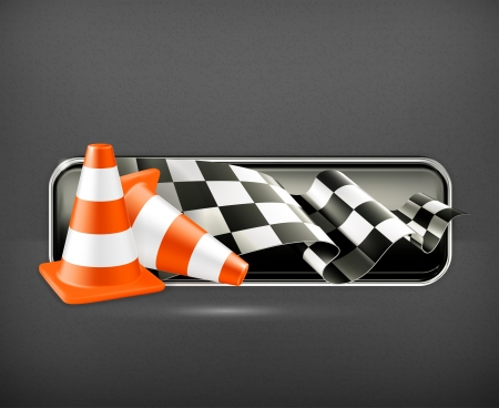 finishing checkered flag: Racing banner with traffic cones