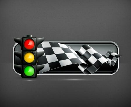 rallies: Racing banner with traffic lights