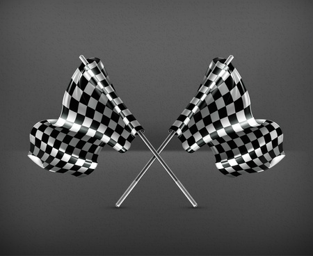 checker flag: Two crossed checkered flags Illustration
