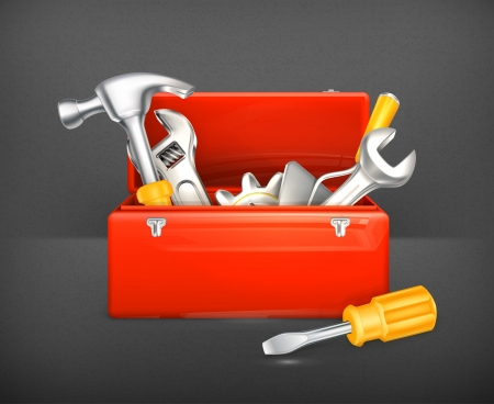 mending: Red toolbox Illustration