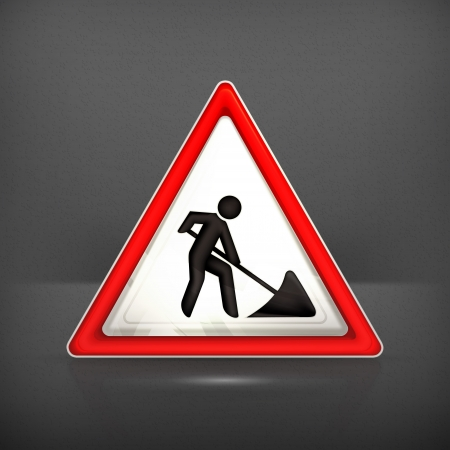 yield sign: Roadworks sign