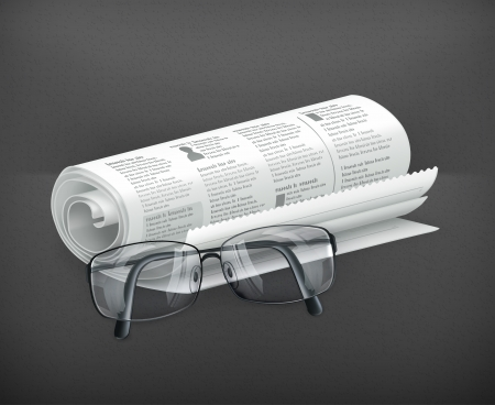 Newspaper and glasses Stock Vector - 19621616