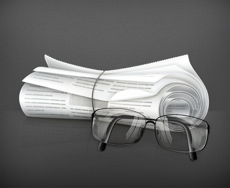 Newspaper and glasses Stock Vector - 19621608