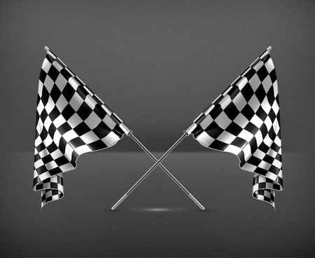 Two crossed checkered flags Vector