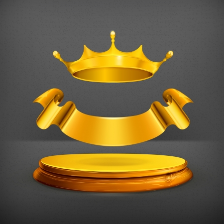 golden crown: Corona de oro Vectores