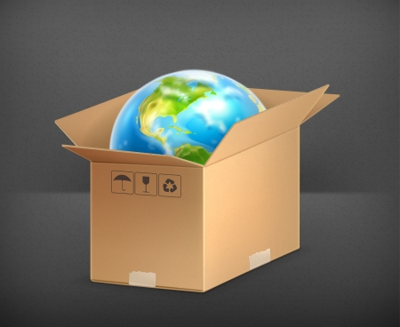 packaging industry: World in box Illustration