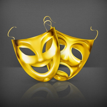 pantomime: Gold theater masks Illustration
