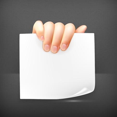 hand holding card: Hand houden papier Stock Illustratie